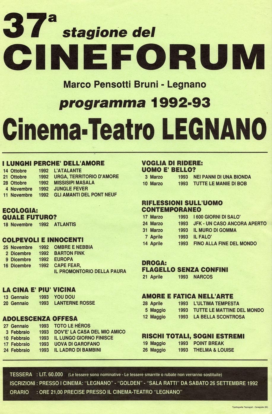 Volantino Stagione 1992-1993
