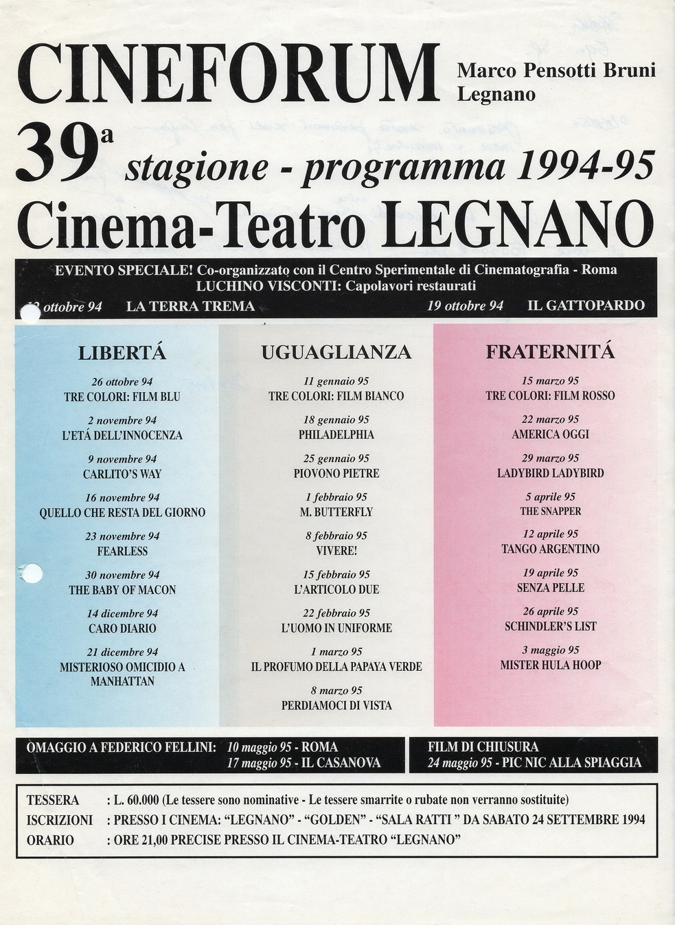 Volantino Stagione 1994-1995