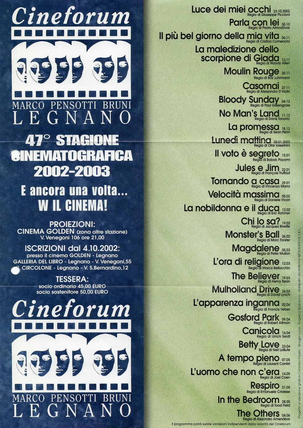 Volantino Stagione 2002-2003